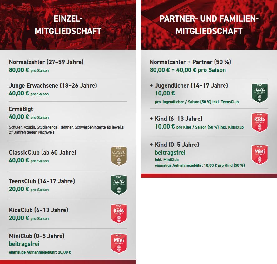 Beiträge Mitgliedschaft FC Augsburg